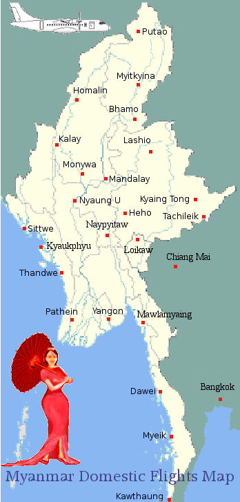 Myanmar Domestic Flights Map.