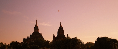 Bagan Skyline with a balloon in the background
