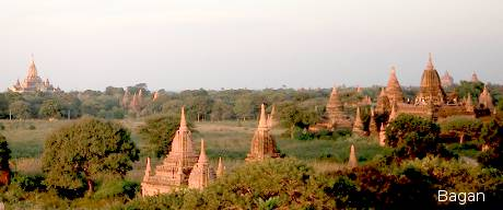 Bagan temples at the distance