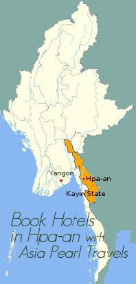 Map showing Hpa-an and Kayin State