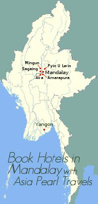 Map showing Mandalay and nearby attractions
