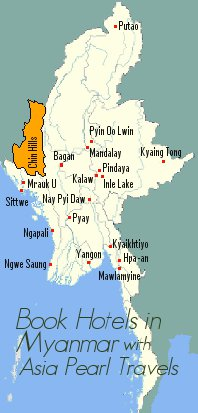 Location of Myanmar Cities for hotel booking.