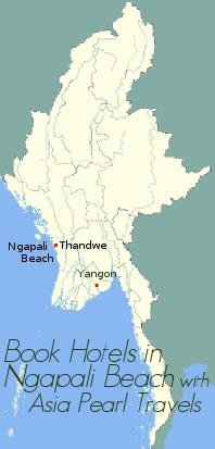 Myanmar Map showing Ngapali Beach.