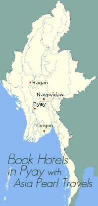 Pyay on Myanmar Map.