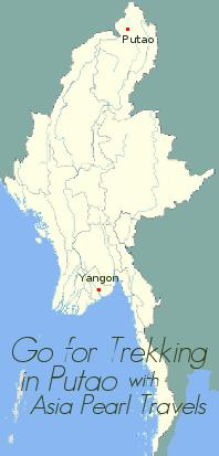 Putao on Myanmar Map.
