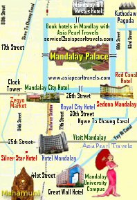 Mandalay Tour Map showing hotels and landmarks