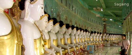 Multiple Buddha Statues in Sagaing