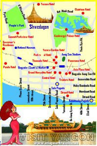 Yangon Tour Map showing hotels and tourist Attractions.